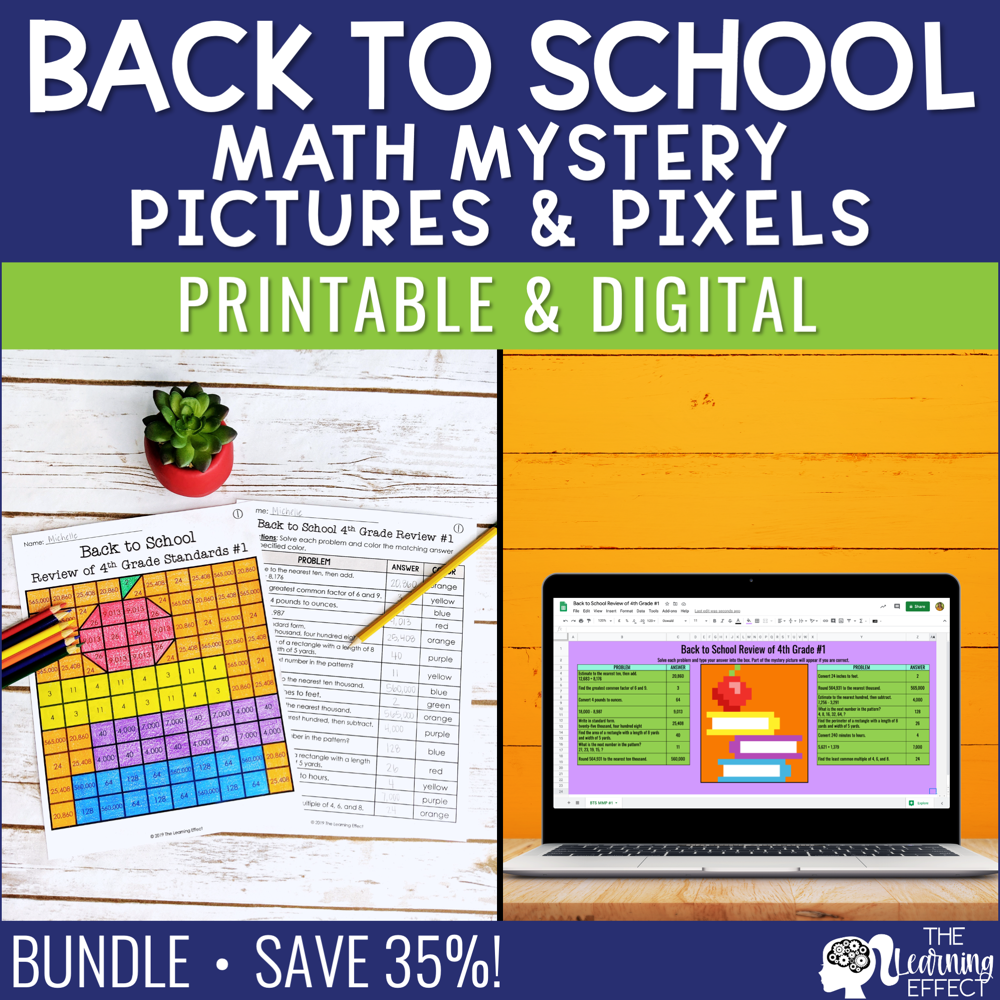 Back to School Math Mystery Pictures and Pixel Art BUNDLE