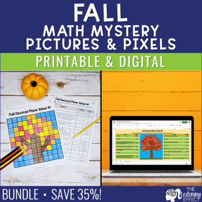Fall Math Mystery Pictures and Pixel Art BUNDLE