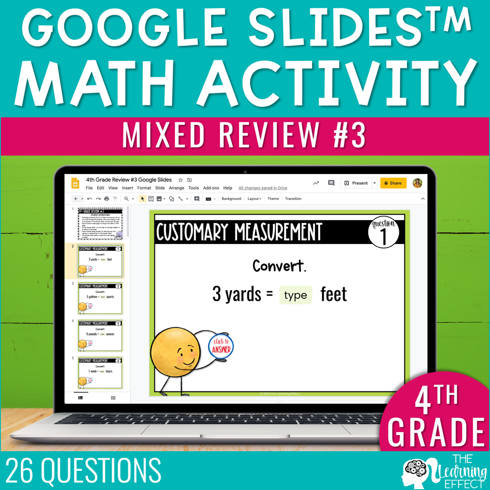 4th Grade Math Review #3 Google Slides | End of Year