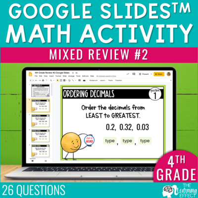 4th Grade Math Review #2 Google Slides End of Year | Digital Math Activity
