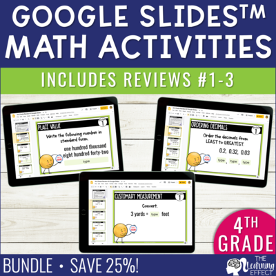 4th Grade Math Review #1-3 Google Slides | End of Year BUNDLE