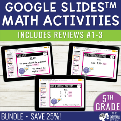 5th Grade Math Review #1-3 Google Slides End of Year BUNDLE