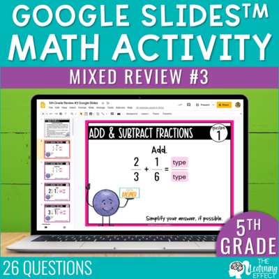 5th Grade Math Review #3 Google Slides | End of Year