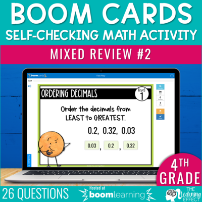 4th Grade Math Review #2 Boom Cards End of Year