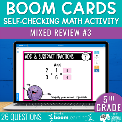 5th Grade Math Review #3 Boom Cards End of Year