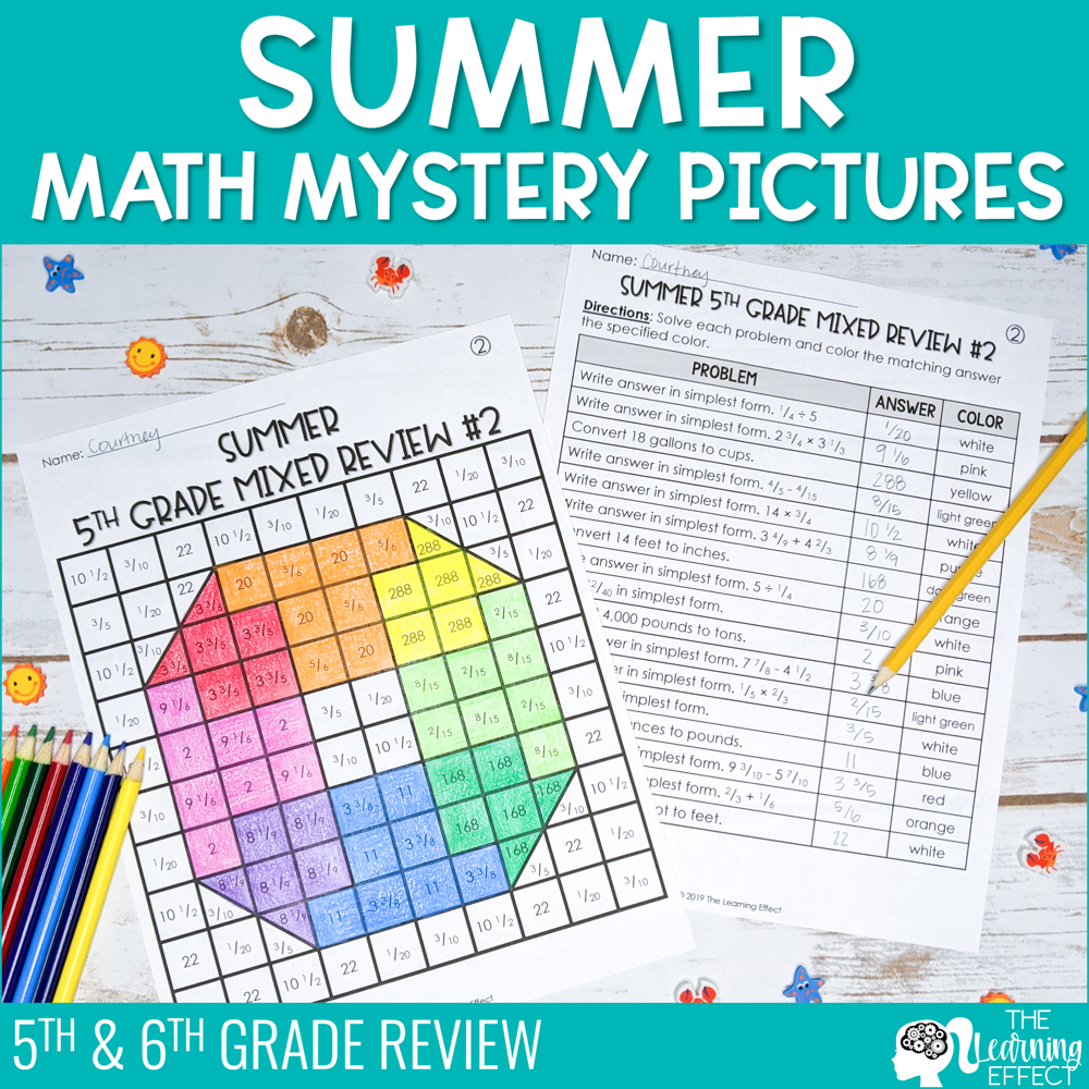 Summer Math Mystery Pictures | End of Year 5th & 6th Grade