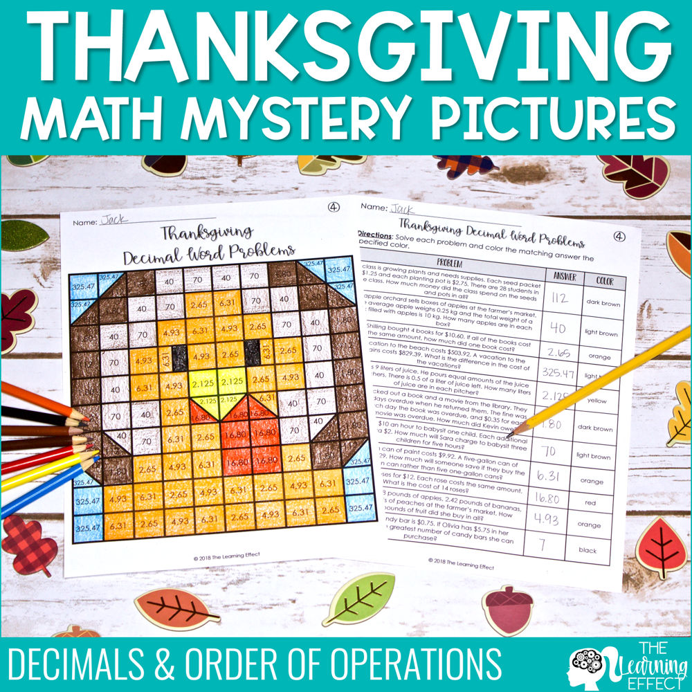 Thanksgiving Math Mystery Pictures [Decimals, Order of Operations]