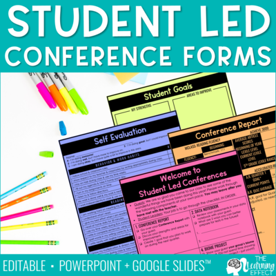 Student Led Conference Printable Forms [Editable]