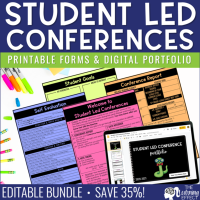 Student Led Conference Printable Forms & Virtual Portfolio BUNDLE [Editable]