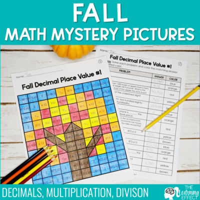 Fall Math Mystery Pictures [Decimal Place Value, Multiplication, Division]