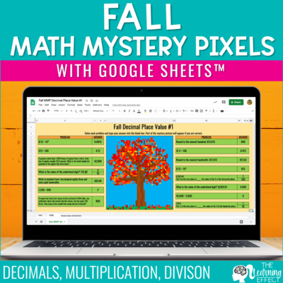 Fall Math Mystery Pictures Pixel Art Google Sheets