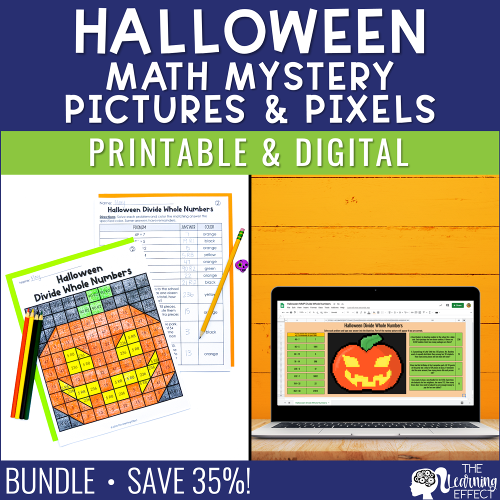 Halloween Math Mystery Pictures and Pixel Art BUNDLE