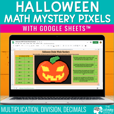 Halloween Math Mystery Pixel Art Google Sheets