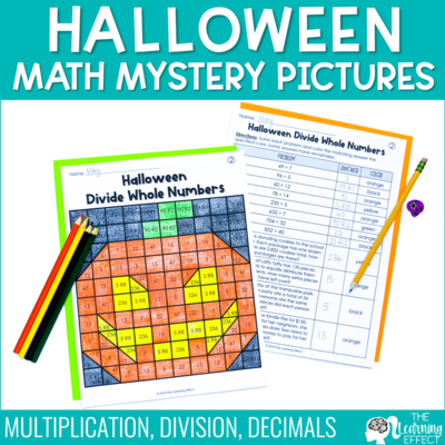 Halloween Math Mystery Pictures | Multiplication, Division, and Decimals