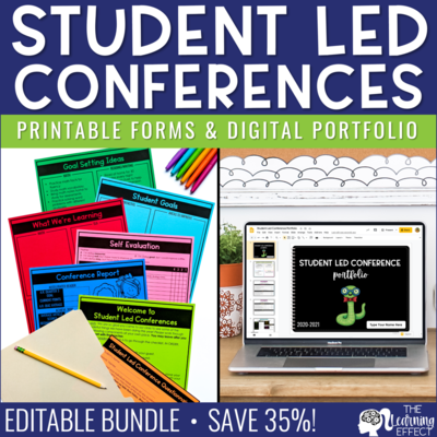 Student Led Conference Printable Forms & Virtual Portfolio BUNDLE | Editable