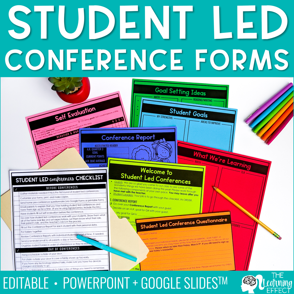 Student Led Conference Printable Forms | Editable