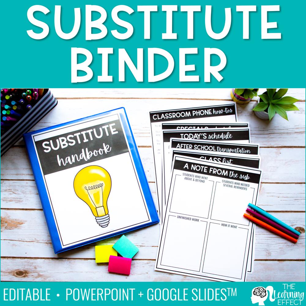 Substitute Binder Templates | Editable