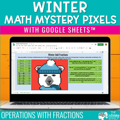 Winter Math Mystery Pixel Art Google Sheets