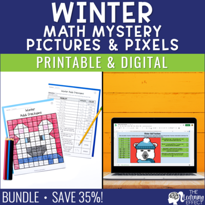 Winter Math Mystery Pictures and Pixel Art BUNDLE