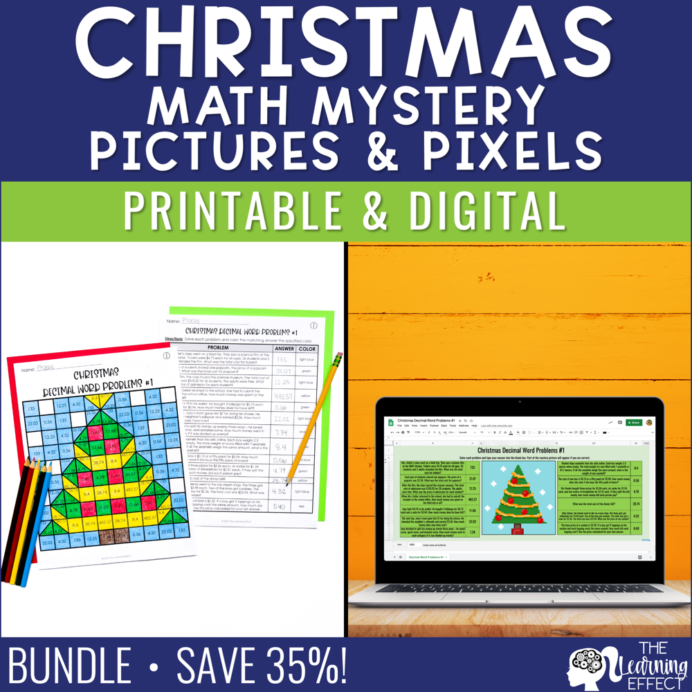 Christmas Math Mystery Pictures and Pixel Art BUNDLE