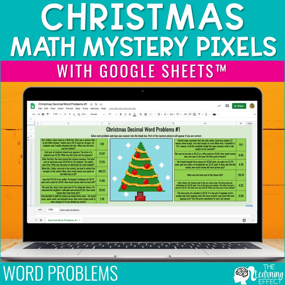 Christmas Math Mystery Pixel Art Google Sheets