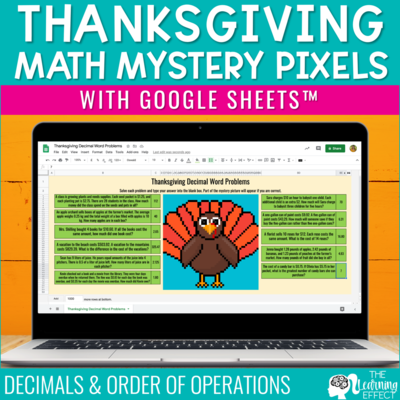 Thanksgiving Math Mystery Pixel Art Google Sheets