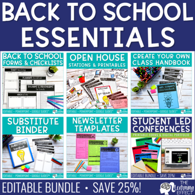 Back to School Forms, Printables, & Checklists BUNDLE | Editable
