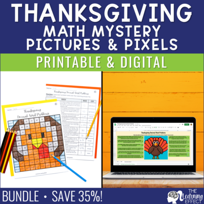 Thanksgiving Math Mystery Pictures and Pixel Art BUNDLE