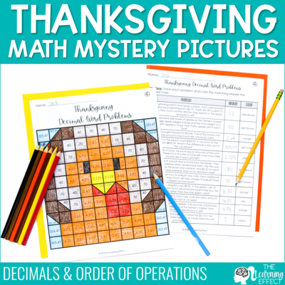 Thanksgiving Math Mystery Pictures | Decimals and Order of Operations