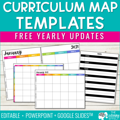 Editable Curriculum Map or Pacing Guide Template | 2021 with Free Updates