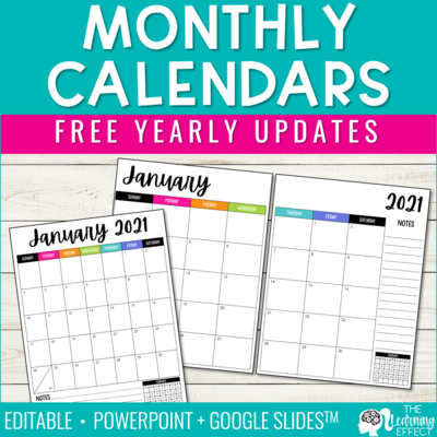 Editable Monthly Calendars 2021 | Free Yearly Updates