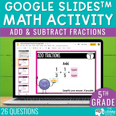 Add and Subtract Fractions Google Slides | 5th Grade