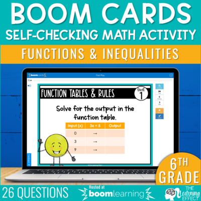 Functions and Inequalities Boom Cards | 6th Grade