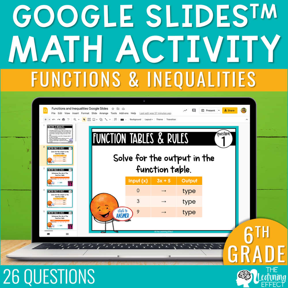 Functions and Inequalities Google Slides | 6th Grade