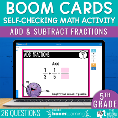 Add and Subtract Fractions Boom Cards | 5th Grade