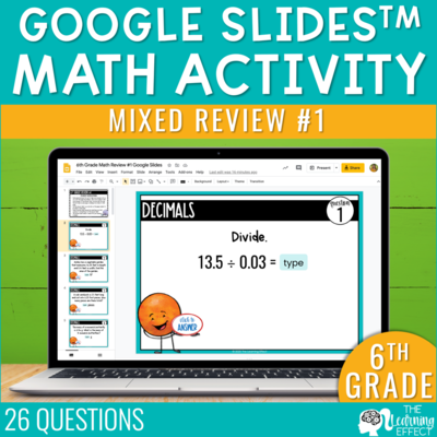 6th Grade Math Review #1 Google Slides End of Year