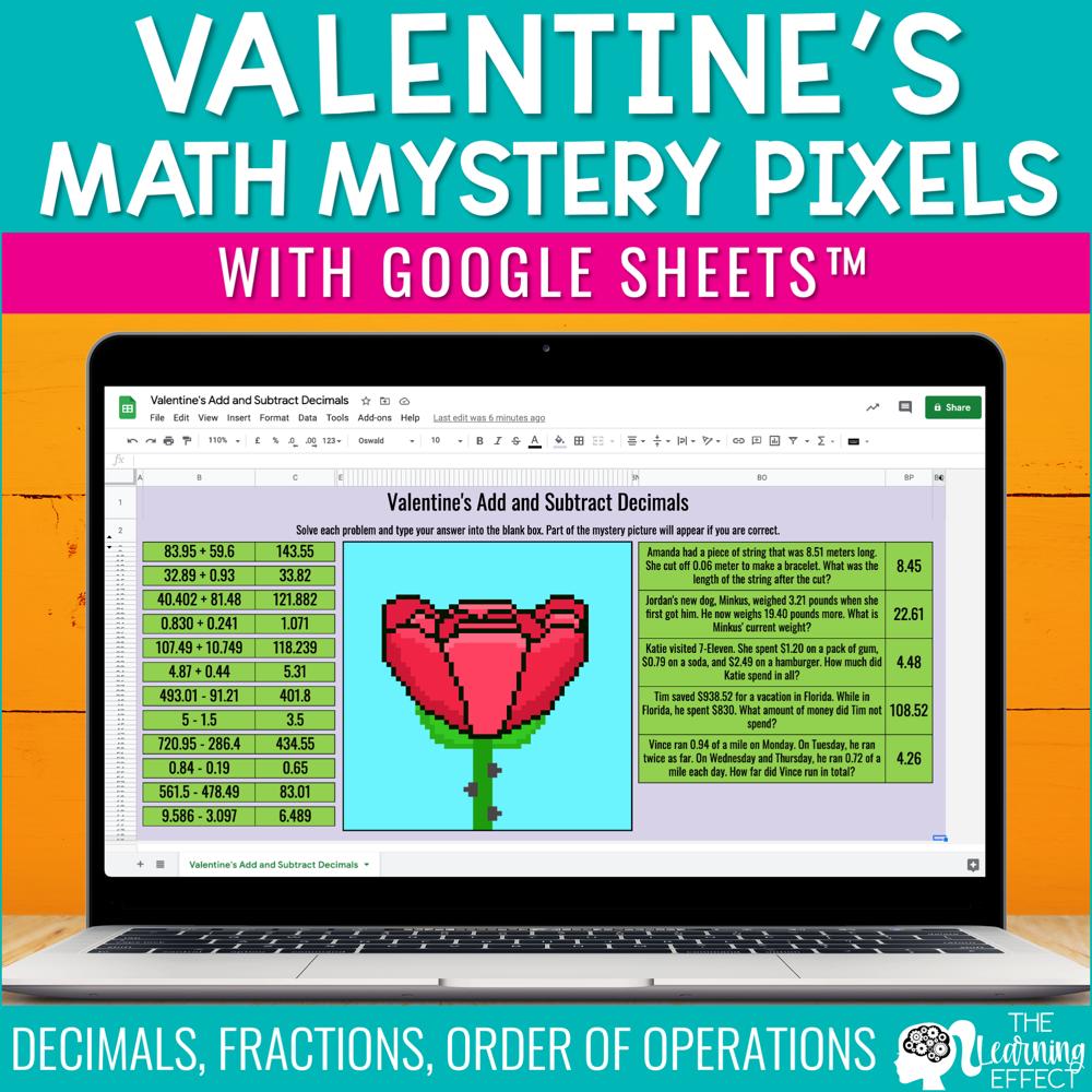 Valentine's Math Mystery Pixel Art Google Sheets