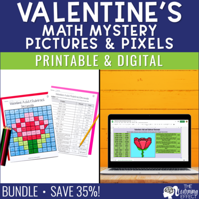 Valentine's Math Mystery Pictures and Pixel Art BUNDLE