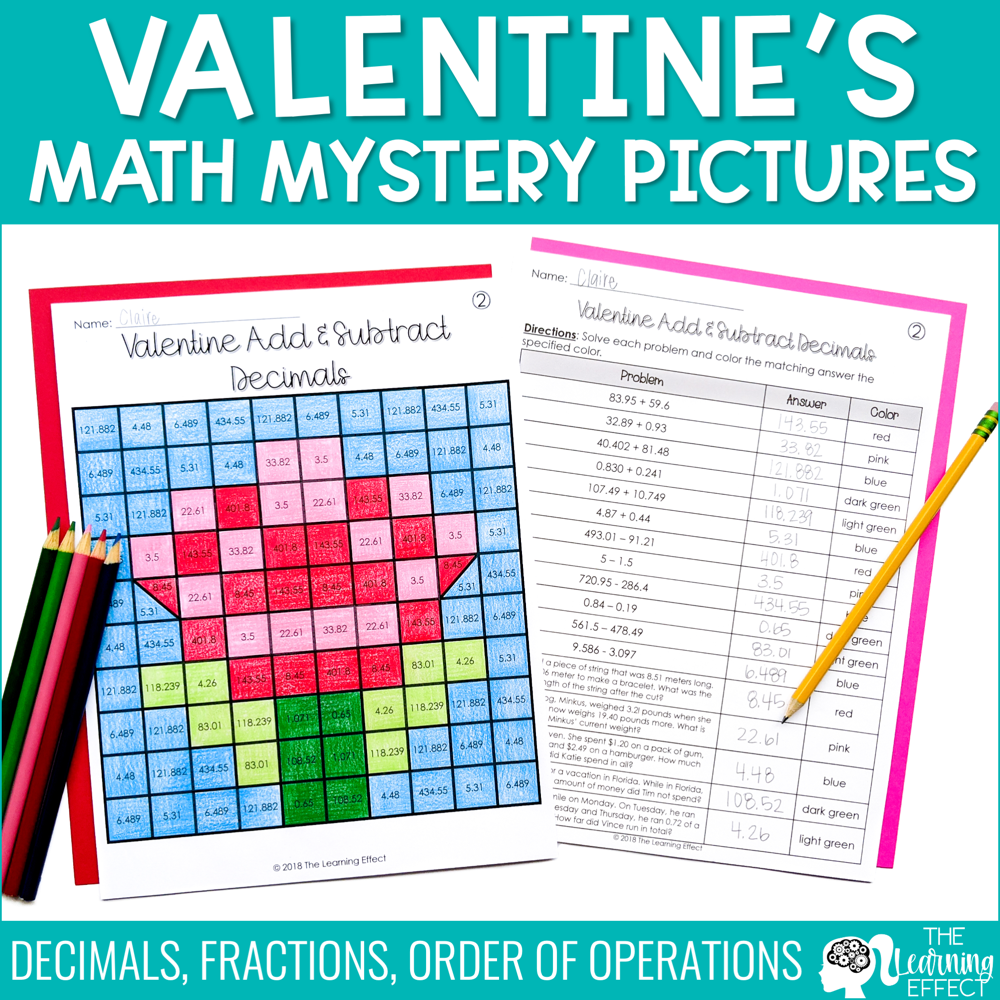 Valentine's Math Mystery Pictures | Fractions, Decimals, Order of Operations