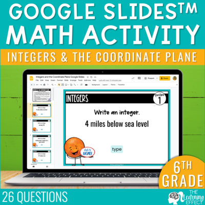 Integers and the Coordinate Plane Google Slides | 6th Grade Digital Activity