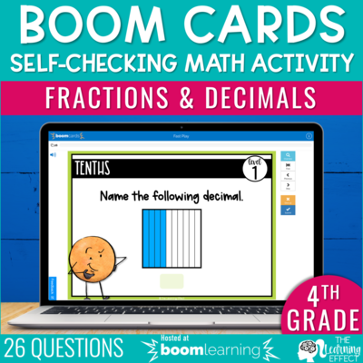 Fractions and Decimals Boom Cards | 4th Grade Digital Math Activity