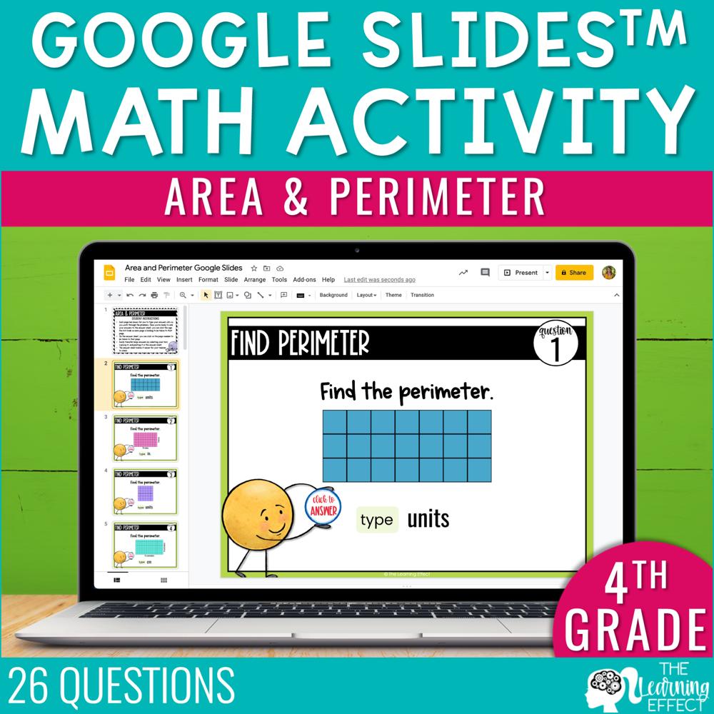Area and Perimeter Google Slides | 4th Grade Digital Math Activity