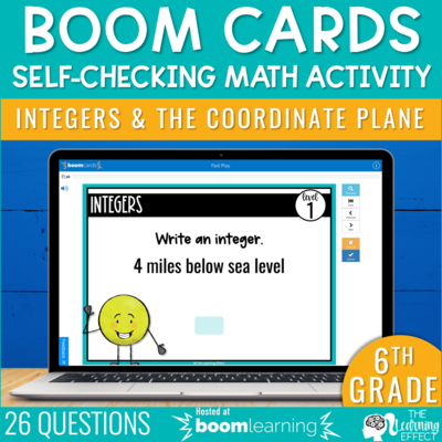 Integers and the Coordinate Plane Boom Cards | 6th Grade Digital Math Activity