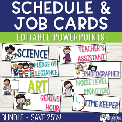 Schedule Cards and Classroom Jobs Editable BUNDLE