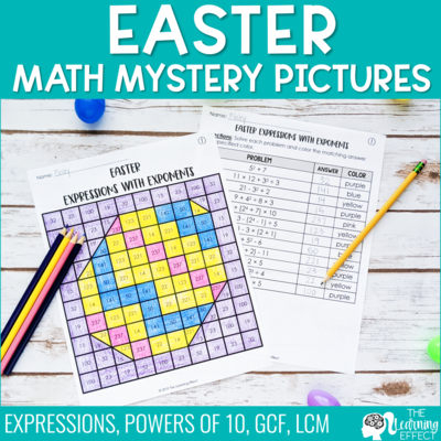 Easter Math Mystery Pictures | Expressions GCF LCM