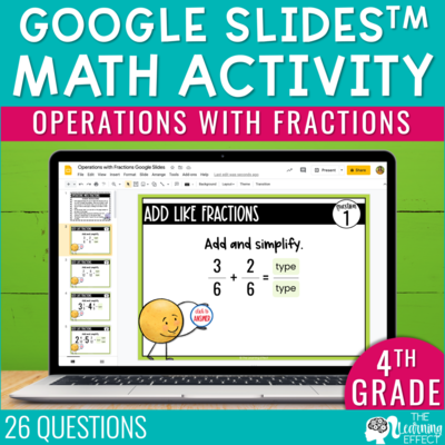 Operations with Fractions Google Slides | 4th Grade Digital Math Activity