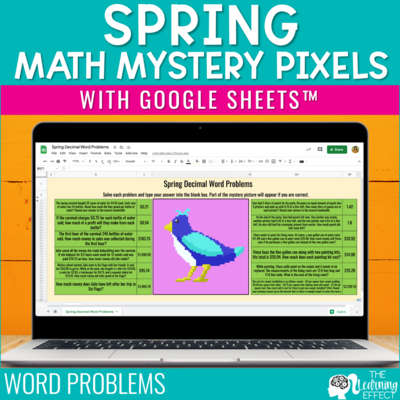 Spring Math Mystery Pixel Art Google Sheets | Digital Math Activity