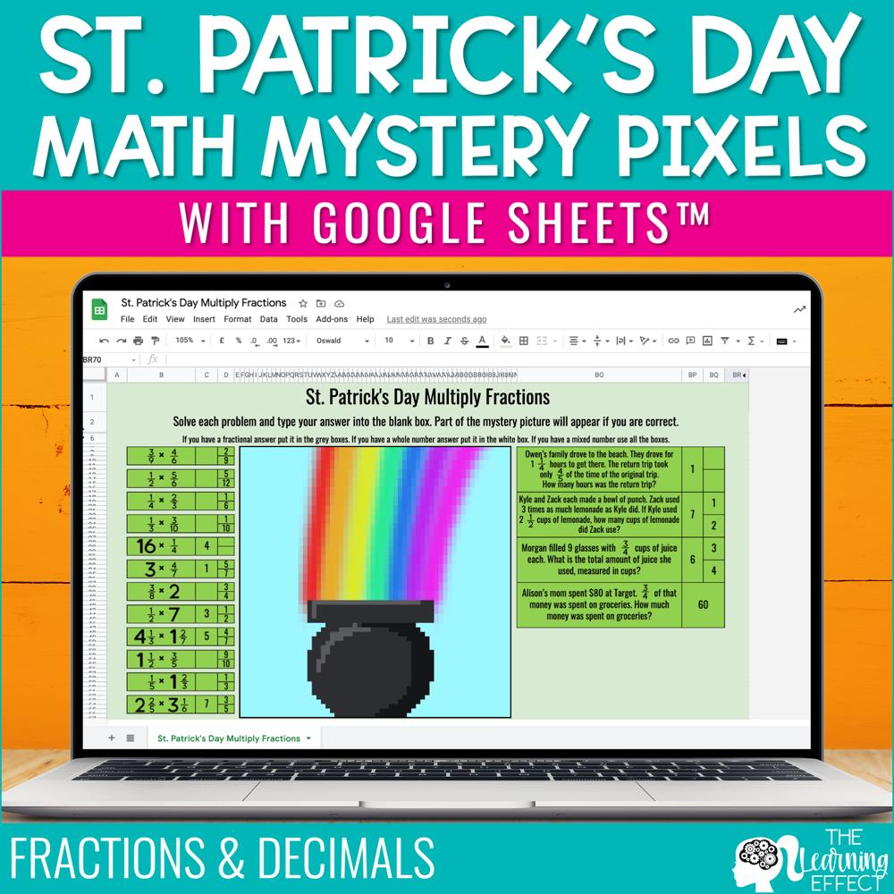 St. Patrick's Day Math Mystery Pixel Art Google Sheets | Digital Math Activity