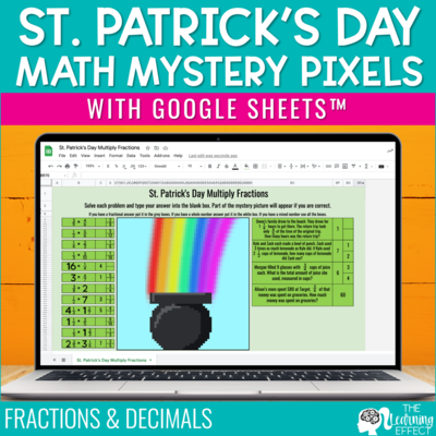 St. Patrick's Day Math Mystery Pixel Art Google Sheets | Digital Math Activity