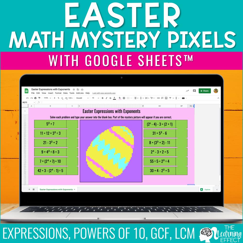 Easter Math Mystery Pixel Art Google Sheets | Digital Math Activity